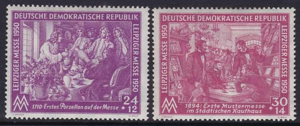 PAIRE NEUVE D´ALLEMAGNE ORIENTALE - FOIRE DE PRINTEMPS DE LEIPZIG 1950 N° Y&T 1/2