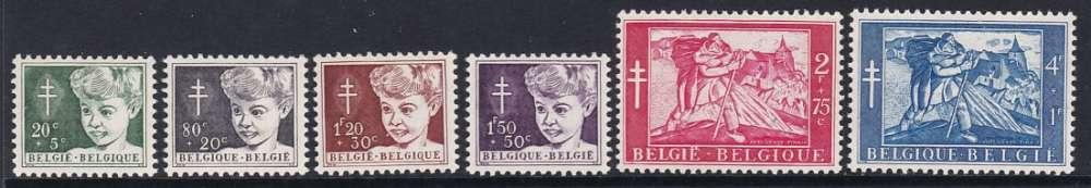 SERIE NEUVE DE BELGIQUE - AU PROFIT D'OEUVRES ANTITUBERCULEUSES N° Y&T 955 A 960