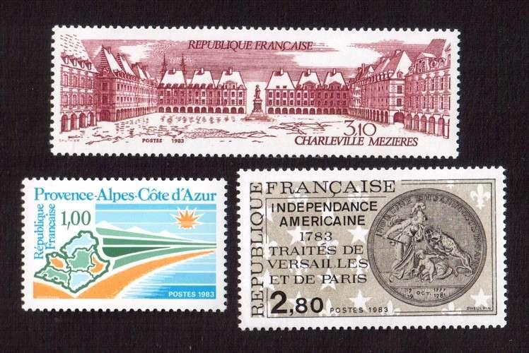 France 1983 Y&T 2252 - 2285 - 2288 **  région, indépendance américaine, Charleville  cote 3,65€