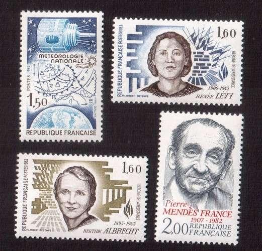 France 1983 Y&T 2292 -  2293 - 2294 - 2298  **  météo, héros Résistance, Mendès France cote 3,40€