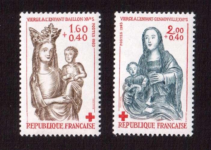 France 1983 Y&T 2295 -  2296  **  croix rouge sculpture en bois cote 2,10€