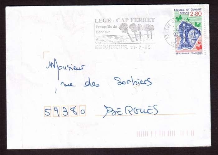 France 1995 Y&T 2948 (o) Espace et Guyane Ariane  2,80  seul sur lettre avec flamme