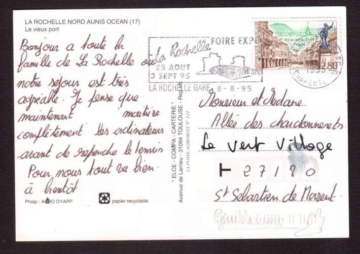 France 1995 Y&T 2955 (o) Remiremont ( Vosges ) 2,80 seul sur CP La Rochelle avec flamme