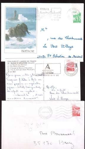 Fr 1995 Y&T 2949 - 2951 - 2952 (o) les régions Bretagne 2,40 Auvergne, Camargue  2,80 sur lettres