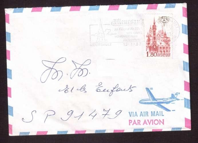 France 1982 Y&T 2238 (o) Lille année du beffroi 1,80 sur lettre avec flamme Meursault