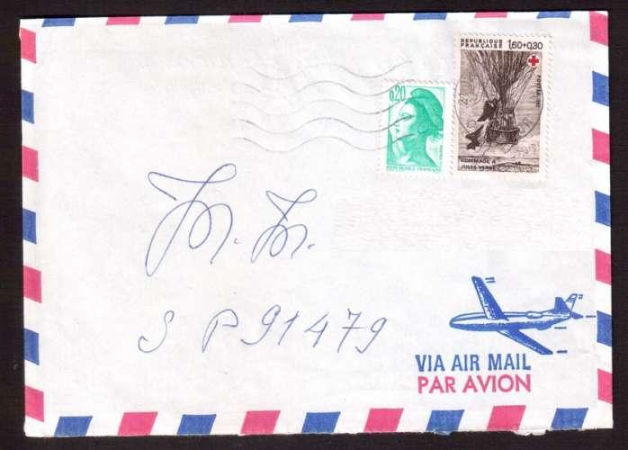 France 1982 Y&T 2247 (o) croix rouge J Verne 1,60 + 0,30 sur lettre