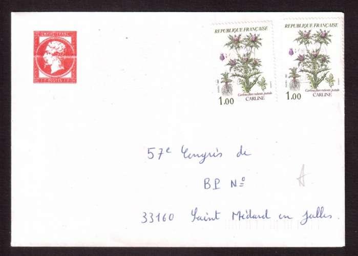 France 1982 Y&T 2266 (o) carline fleurs des montagnes 1,00 X 2 sur lettre