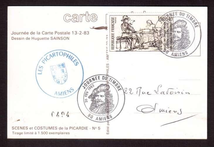 France 1982 Y&T 2258 (o) journée du timbre 1,80 + 0,40 sur CP Scènes et costumes de la Picardie