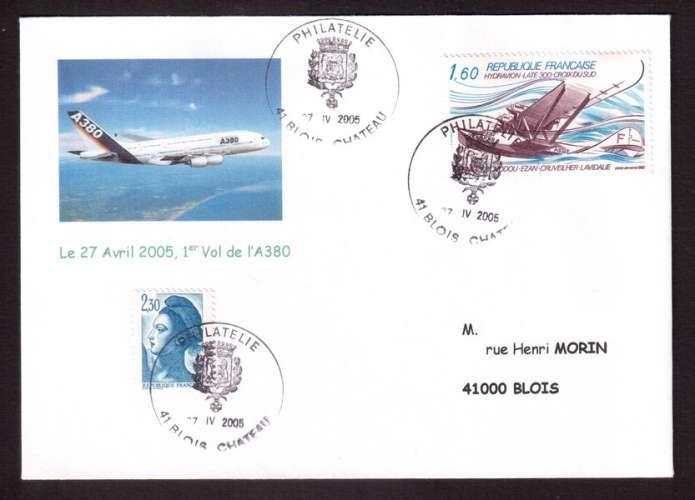 France 1982 PA Y&T 56 (o) hydravion Laté 300 Croix du Sud 1,60  sur 1er vol de l'A 380