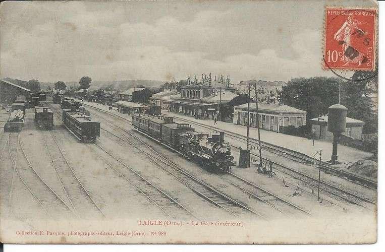 CPA - 61 - L'Aigle - Gare - Dos scanné