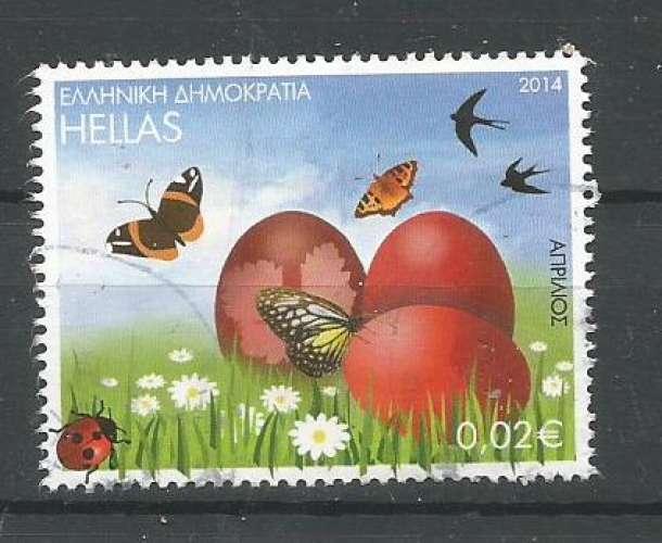 Grèce 2014 - YT n° 2707 - Avril - oeufs de Pâques, papillons, hirondelles