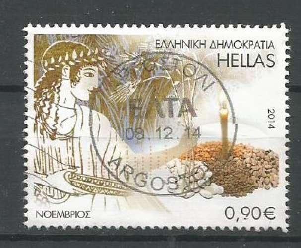 Grèce 2014 - YT n° 2714 - Novembre - gravure, bougie, céréales - cote 1,60