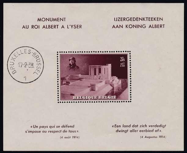 BLOC NEUF DE BELGIQUE - MONUMENT AU ROI ALBERT A L'YSER N° Y&T 8