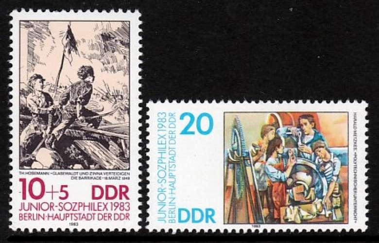 PAIRE NEUVE D'ALLEMAGNE ORIENTALE - EXPOSITION DU TIMBRE DES JEUNES PHILATELISTES N° Y&T 2455/2456