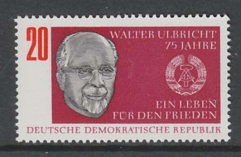 TIMBRE NEUF D´ALLEMAGNE ORIENTALE - 75E ANNIV. DE L'HOMME POLITIQUE WALTER ULBRICHT N° Y&T 1079