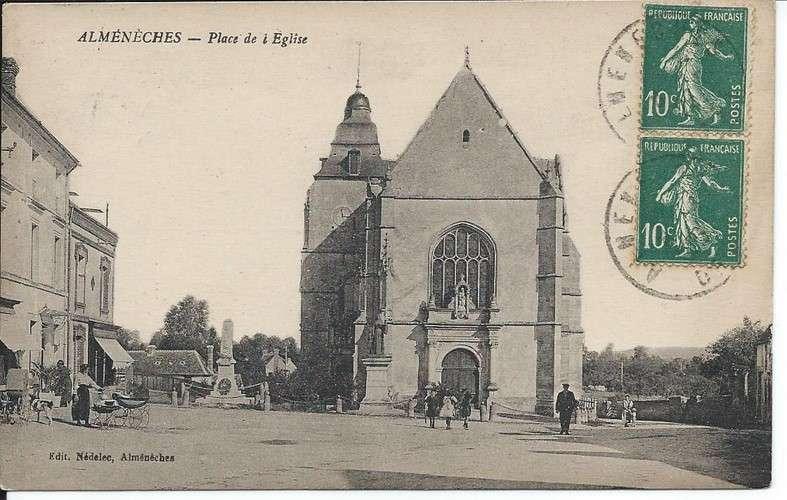 CPA - 61 - Almenèches - Place de l'Eglise - Dos scanné