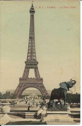 CPA - 75 - Paris - Tour Eiffel - Eléphant - Colorisée - Dos scanné