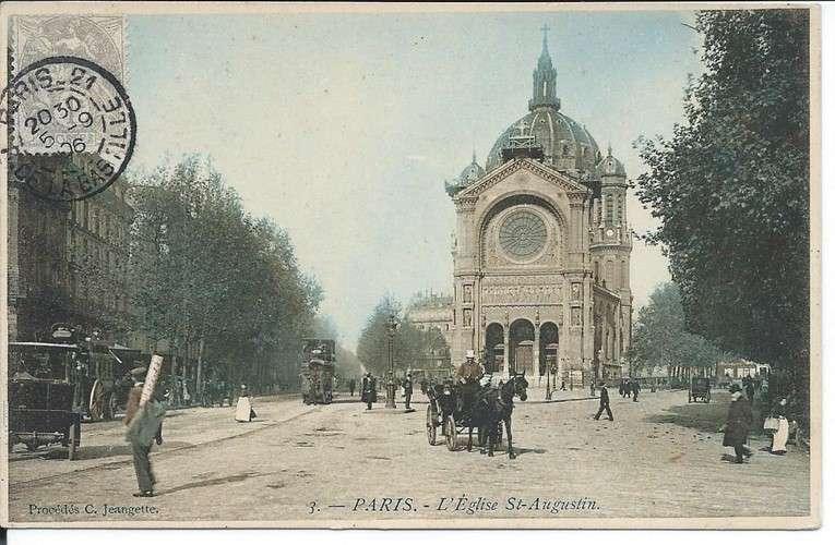 CPA - 75 - Paris - Eglise Saint-Augustin - Tramway - Attelages - 1906 - Colorisée - Dos scanné
