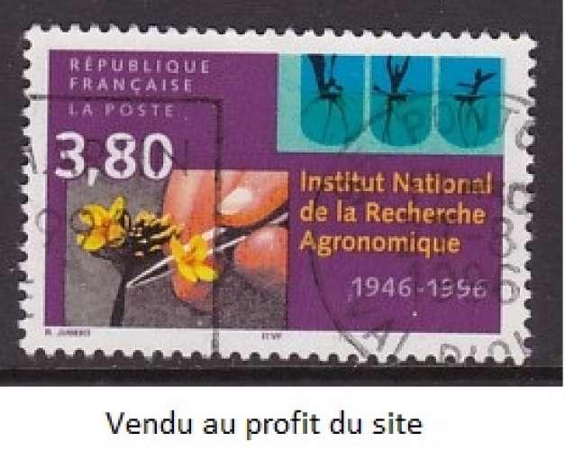 TIMBRE OBLITERE DE FRANCE - CINQUANTENAIRE INSTITUT NATIONAL DE LA RECHERCHE AGRONOMIQUE N° Y&T 3001