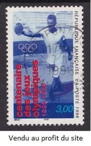 TIMBRE OBLITERE DE FRANCE - LANCEUR DE DISQUE (CENTENAIRE DES JEUX OLYMPIQUES) N° Y&T 3016