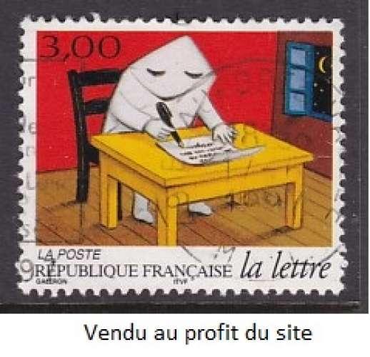 TIMBRE OBLITERE DE FRANCE - ENVELOPPE PERSONNAGE ECRIVANT UNE LETTRE N° Y&T 3060