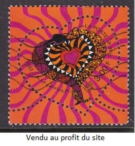 TIMBRE OBLITERE DE FRANCE - COEUR ENTOURE DE DEUX SERPENTS (YVES SAINT-LAURENT) N° Y&T 3295