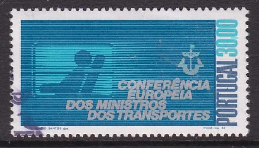 TIMBRE OBLITERE DU PORTUGAL - CONFERENCE EUROPEENNE DES MINISTRES DES TRANSPORTS N° Y&T 1581
