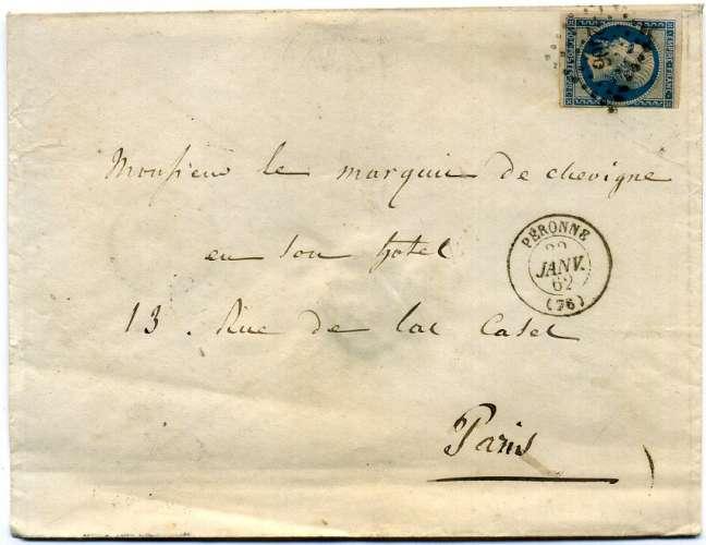 France lettre oblitérée petit chiffre 2406  Péronne (80)  1862