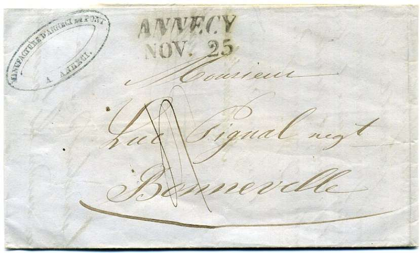 France lettre Annecy  oblitération italienne 1846