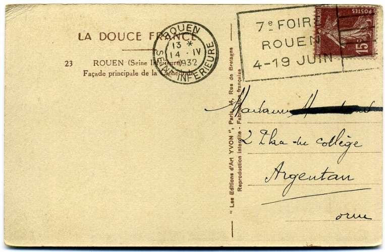 France oblitération mécanique Rouen