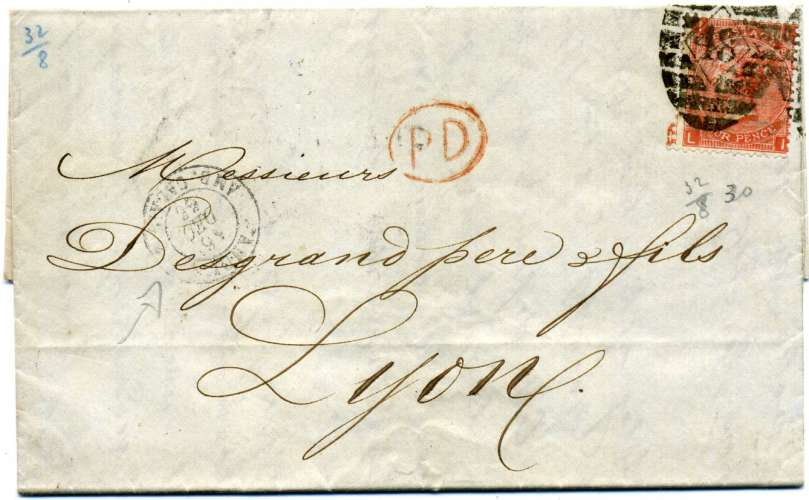 Grande Bretagne  lettre 1866