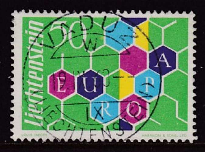 TIMBRE OBLITERE DU LIECHTENSTEIN - EUROPA 1960 N° Y&T 355