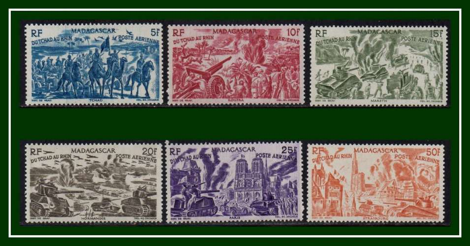 Madagascar N° PA 66 à 71 * complet (cote 12,25€) série Tchad au Rhin