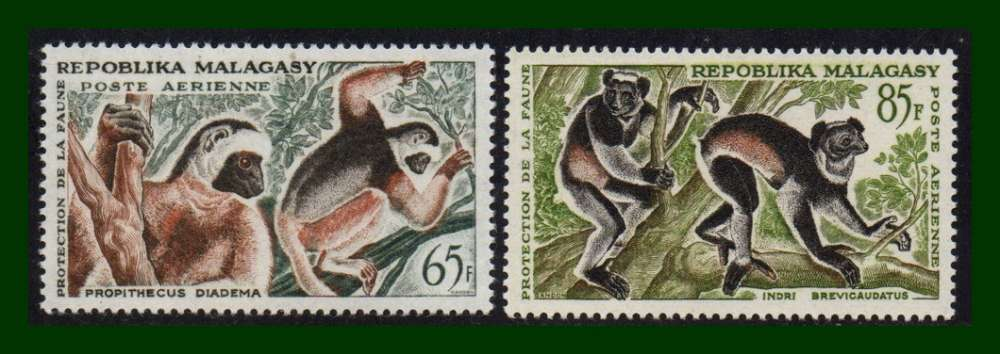 Madagascar N° PA 84 - 85 *  (cote 6 €) Singes