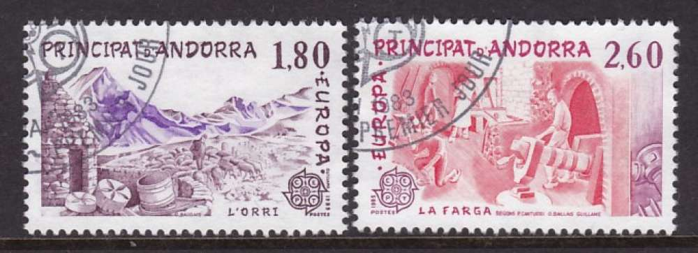 PAIRE OBLITEREE D'ANDORRE FR. - EUROPA 1983 : GRANDES OEUVRES DU GENIE HUMAIN N° Y&T 313/314