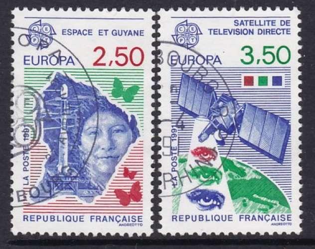 PAIRE OBLITEREE DE FRANCE - EUROPA 1991 : L'EUROPE ET L'ESPACE N° Y&T 2696/2697