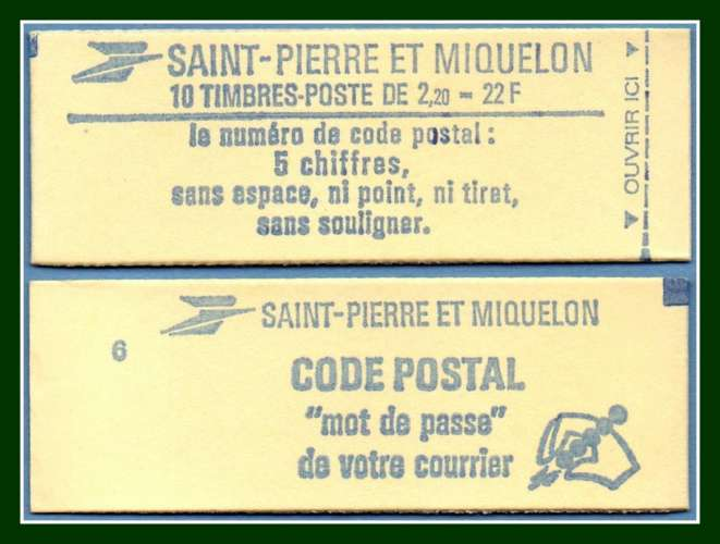St Pierre & Miquelon Carnet N° C 464a ** fermé (cote 12,5€ ) Liberté 1986
