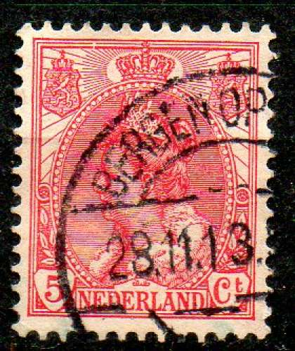 Pays-Bas Yvert N°51 Oblitéré 1898 Reine Wilhemine 5ct