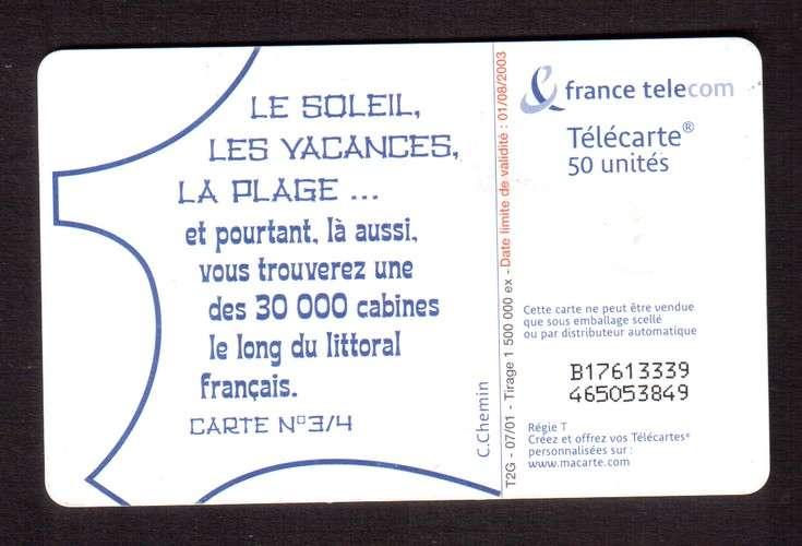télécarte France 2001 le soleil, les vacances, la plage... - 50 unités