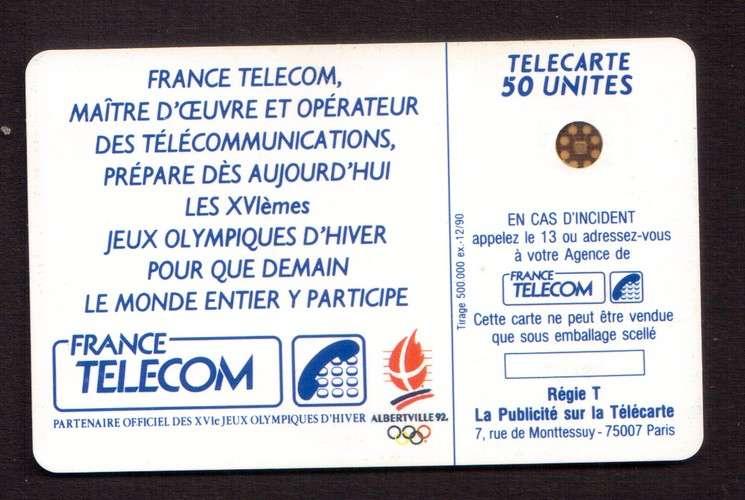 télécarte France dec 1990 XVIèmes jeux olympiques d'hiver Albertville 92  - télécarte 50 unités