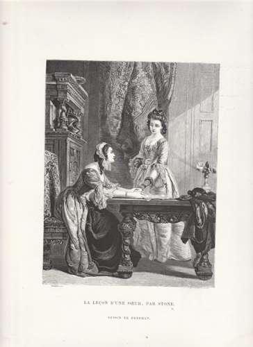 Gravure  ancienne :  La leçon d'une soeur , par Stone