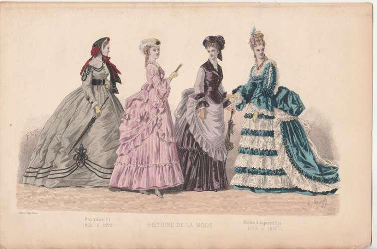 Gravure  ancienne aquarellée : Histoire de la mode Napoléon III