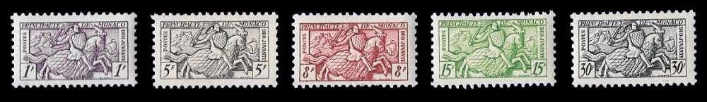 Monaco - Y&T 371 à 375 ** Sceau du prince - année 1951