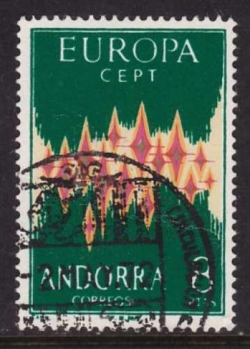 TIMBRE OBLITERE D'ANDORRE ESP. - EUROPA 1972 N° Y&T 64A