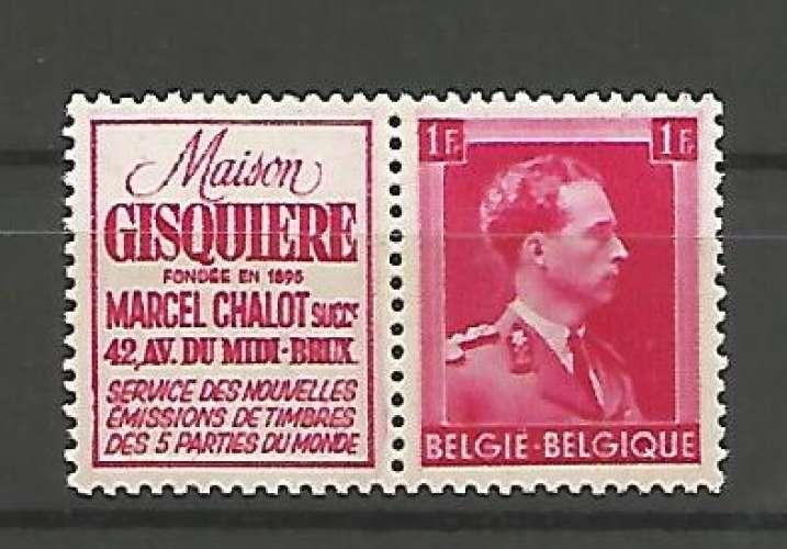 Belgique - 1941 - Gisquiere Chalot - Pub 149 - Neuf **