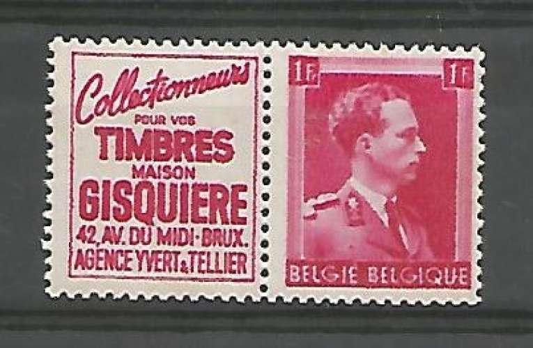 Belgique - 1941 - Gisquiere Timbres - Pub 150 - Neuf **