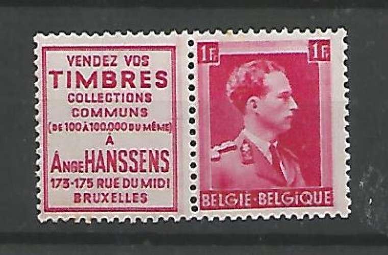 Belgique - 1941 - Ange Hanssens Timbres - Pub 153 - Neuf **