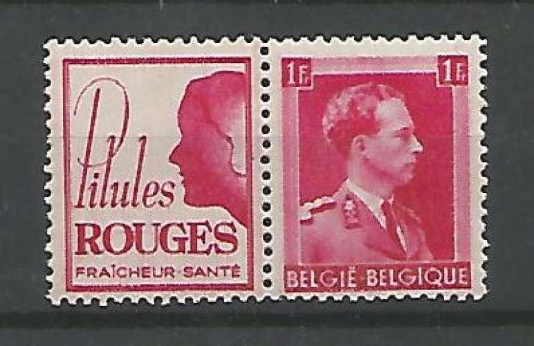 Belgique - 1941 - Pilules rouge femme - Pub 158 - Neuf **