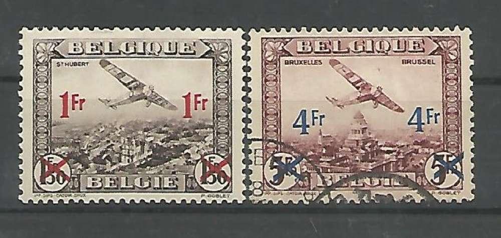 Belgique - 1935 - Avions Surchargés - Tp Aér 6 / 7 - Neuf * et Oblit