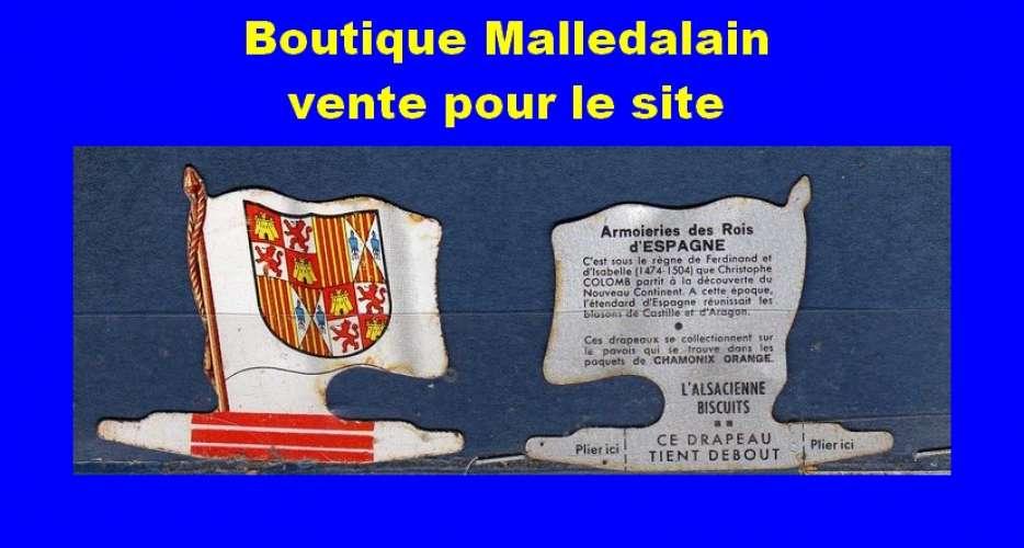Drapeau métallique des Biscuits l'Alsacienne - Armoiries des rois d' Espagne